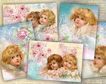 Sweet Angels - digital collage sheet - set of 6 - Printable Download