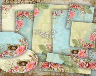 NEW - Romantic Time Paper - background - digital collage - set of 4 sheet - Printable Download
