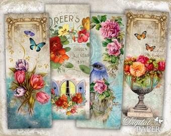 Stories Floral - set of 6 bookmarks - digital collage - printable JPG file