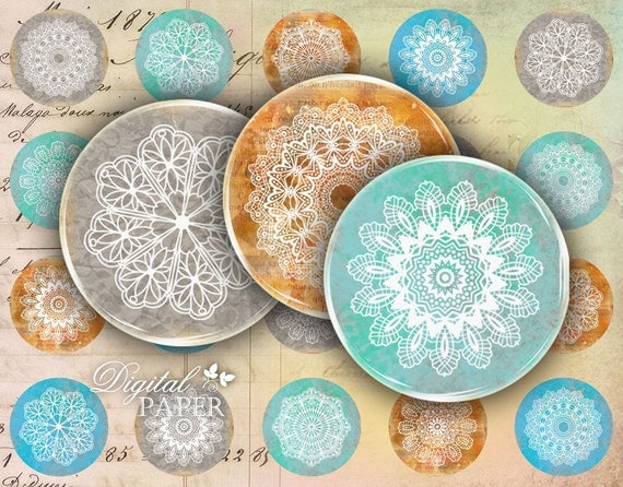 Lace - circles image - digital collage sheet - 1 x 1 inch - Printable Download