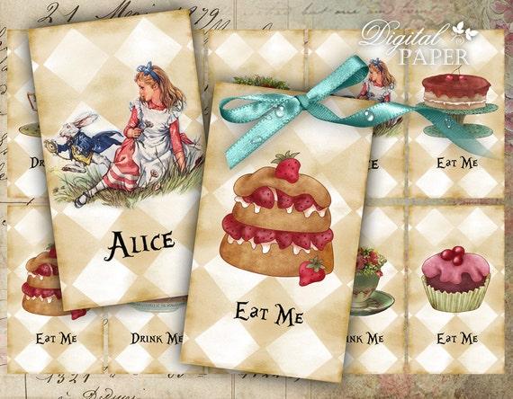 Alice Tags - digital collage sheet - set of 10 - Printable Download
