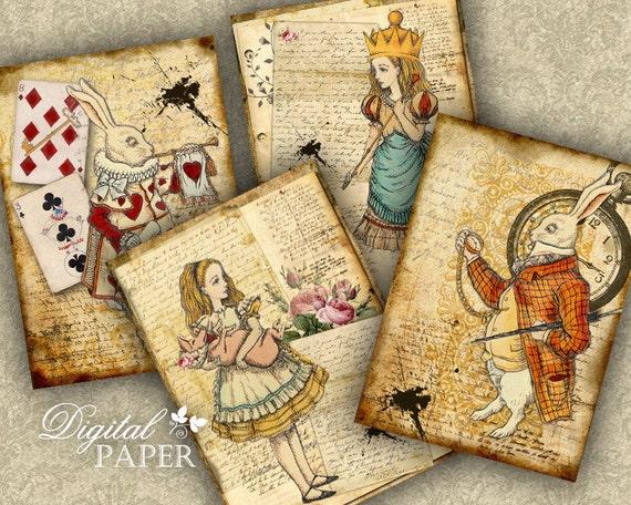Alice and Rabbit - digital collage sheet - set of 4 cards - printable JPG file