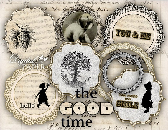 The Good Time - digital collage sheet - printable set of 8 embellished