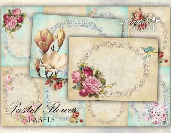 Pastel Flower - Labels - set of 10 - digital collage sheet