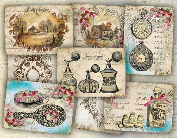 Vintage French - My Home - tags - digital collage sheet - set of 8 - Printable Download