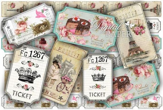 Ticket Vintage - digital collage sheet - set of 6 strips  - vintage image
