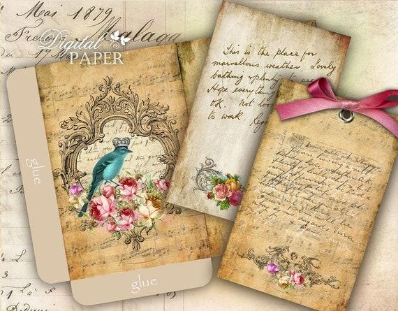 Antique Envelopes - digital collage sheet - set of 2 sheet - Printable Download