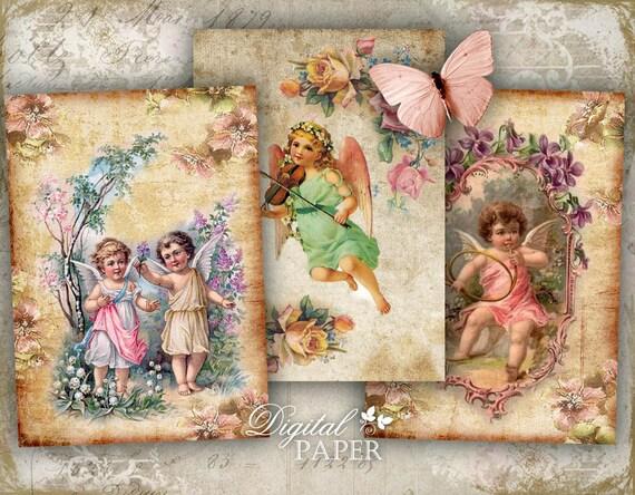 Heavenly Rose - digital collage sheet - set of 8 - Printable Download
