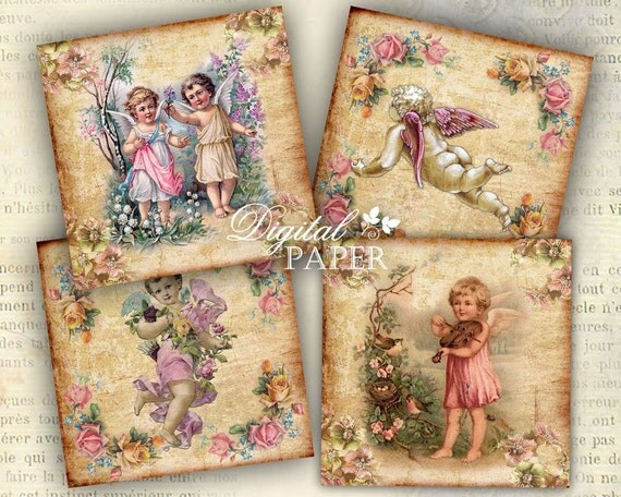 Angels - coaster - 4 x 4 inch - set of 4 cards - digital collage sheet