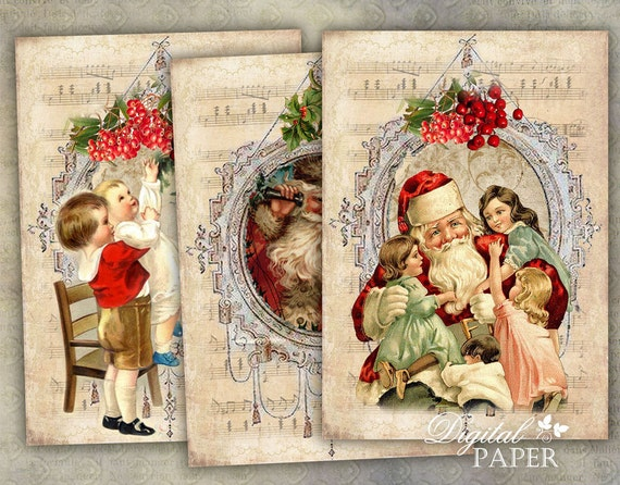 Santa Claus - digital collage sheet - set of 4 cards - Printable Download