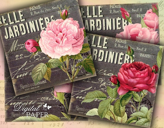 Belle Jardiniere - coaster - 4 x 4 inch - set of 4 cards - digital collage sheet