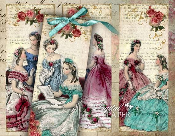 Amica Mia - Vintage Image - set of 6 bookmarks - digital collage - printable JPG file