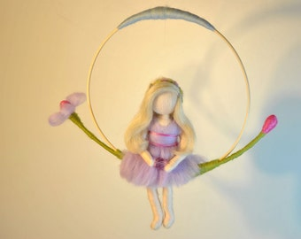 Waldorf inspired needle felted doll mobile: The flower-circle fairy