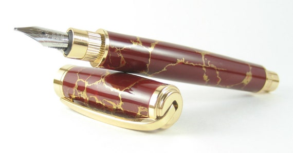 Stunning Red and Gold Fountain Pen