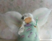 Mint Green Luxurious Faerie Merino and Polwarth Wool Beautiful Mohair Locks Waldorf Inspired