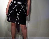 Early 90s Black Box Pleated A Line Skirt w White Applique - Medium