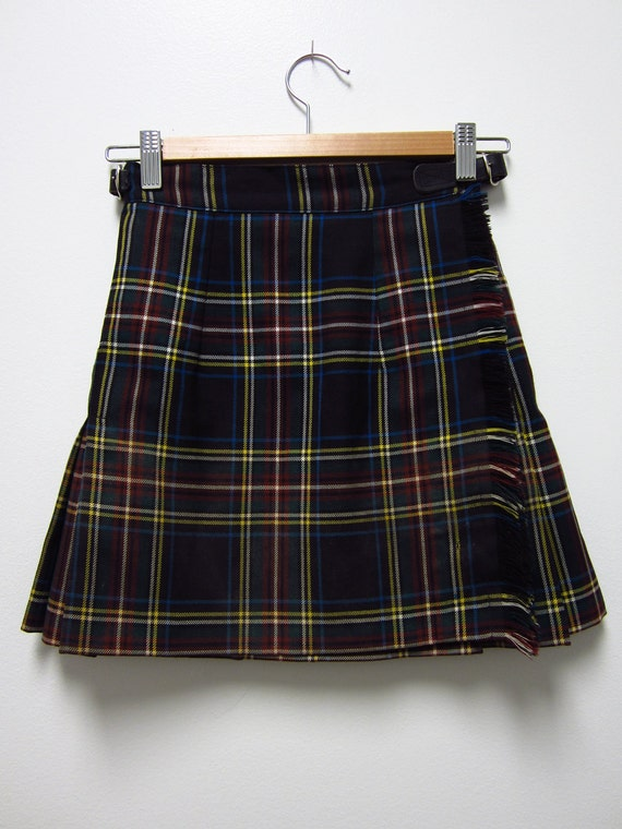 SALE: Early 90s Short Schoolgirl Mini Kilt - Buckles - Sassy - Size 8