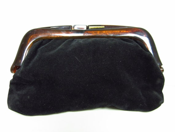 1970s Black Velvet Clutch with Tortoise Shell Style Plastic Clasp - Made in France - Vegan