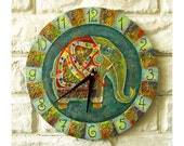 The Green Indian Elephant  Wall Clock