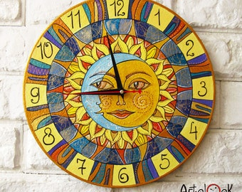 The Sun and Moon Playroom, Sun, Moon, Modern wall clock with numbers, Yellow wall clock, wood clock, Yellow home decor, wedding gift, office