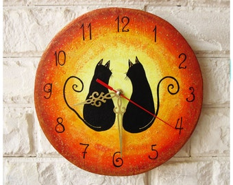 The Love Cats Wall Clock Home Decor for Children Baby Kid Boy Girl