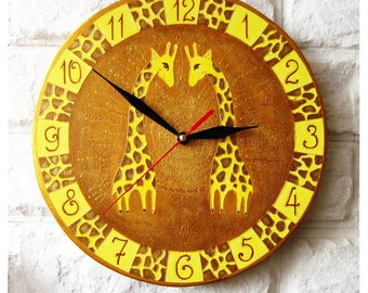 The Giraffes Wall Clock Home Decor for Children Valentine's