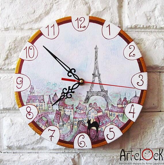 The Spring in Paris  Wall Clock Home Decor, wall clocks handmade