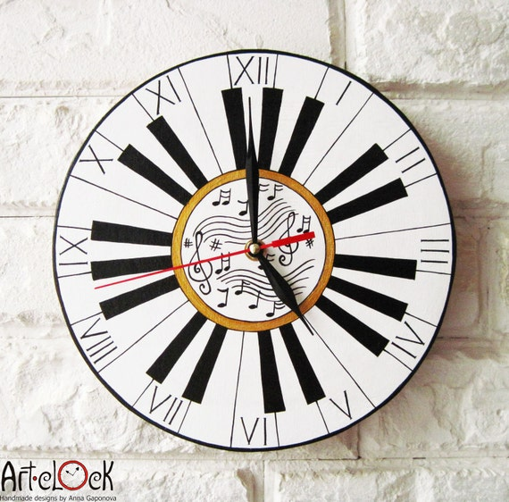 "The ""Do Re Mi""  Wall Clock, Piano Music, Modern wall clock, White wall clock, wood clock, white home decor, for Office, Industrial style."