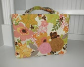 Tote -Pink, Green and Gold Floral with Brown Zebra