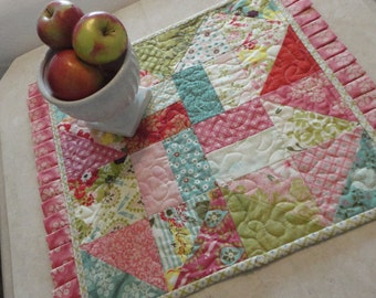 Reversible Ruffled Mat, Baby Quilt, Twin, Queen King Cherry Turnover Quilt Pattern 428P