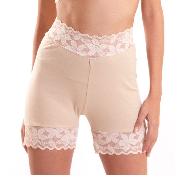 Beige Lace Stretch Shorts Half Slip