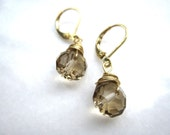Wire wrapped smokey topaz crystal earrings