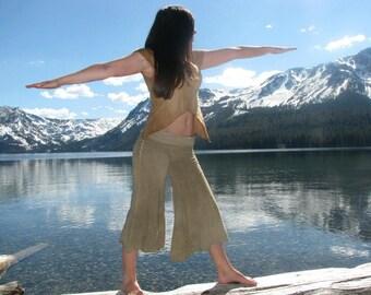 Custom made to order Ananda Goucho Wide Leg Capri Yoga Pants Strechy Organic Hemp and Cotton Blend Dyed with Herbs