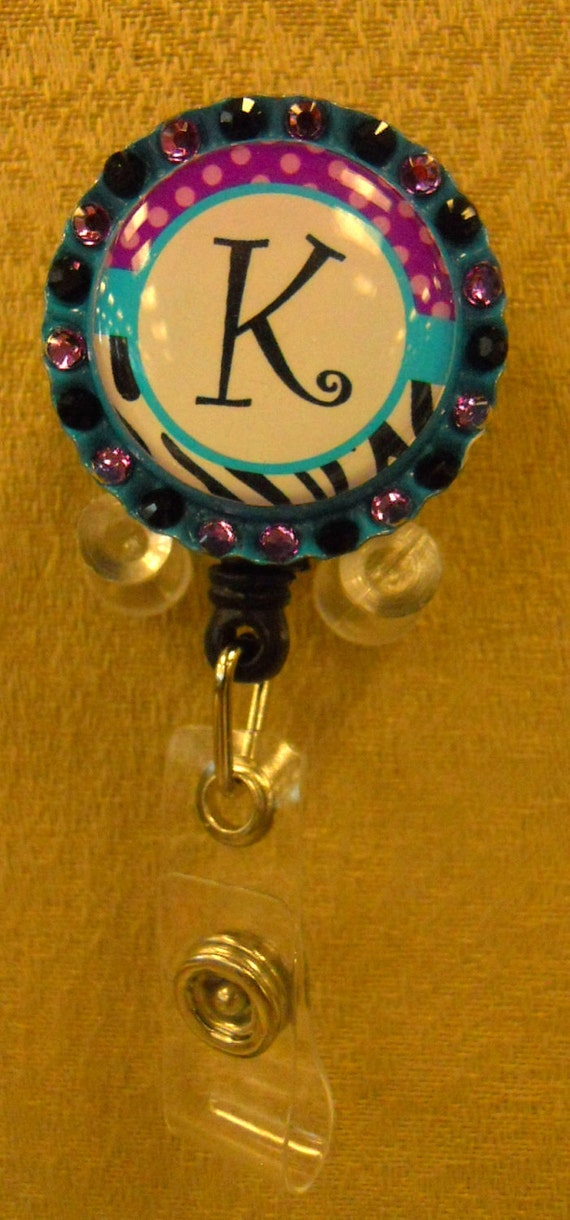 Customized Turquoise and Leopard Any Initial Badge Reel - ID or Access Card Holder