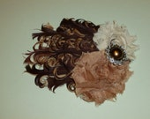 Brown, Tan, and Ivory Nagorie Feather Pad With Two Coordinating Shabby Flowers Adorned With Complimentary Pearl Button  Hairclip/Headband