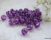 8mm Purple Crackle Beads