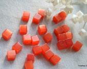 7mm Tangerine Cat Eye Fiber Optic Cube Beads