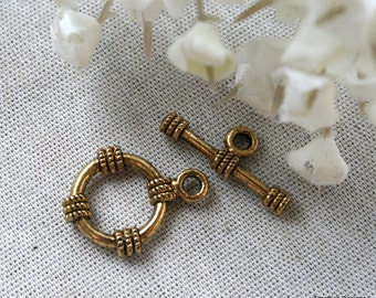 2 Antiqued Gold Sailor Knot Toggle Clasp