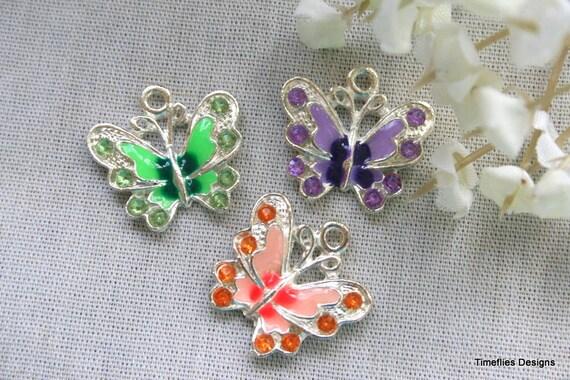 3 Silver and Enamel Butterfly Charm/Pendants