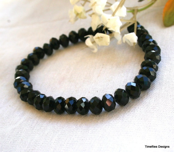 8mm Black Rondell Crystal Beads