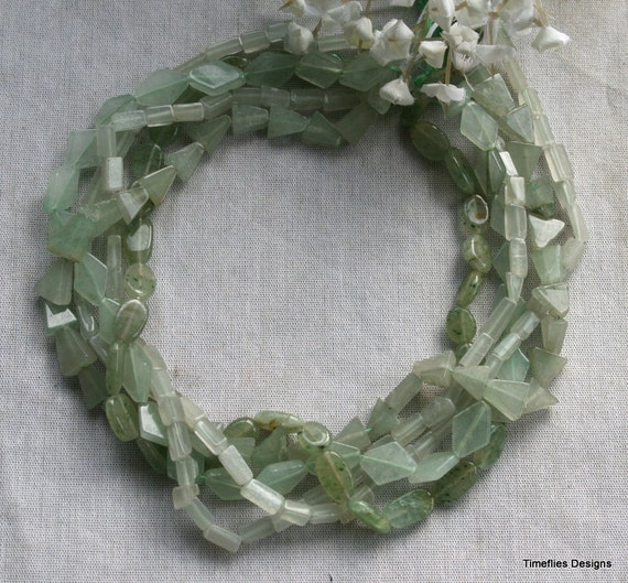 5 Strands of Natural Aventurine in Different Shapes