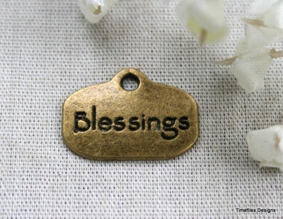 "7 Antique Bronze ""Blessings"" Charms/Pendants - CB-0033"