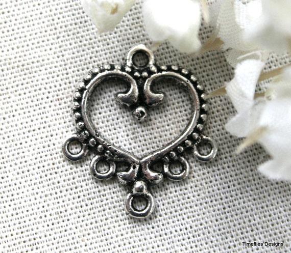 5 Tibetan Silver Heart Connector/Charm
