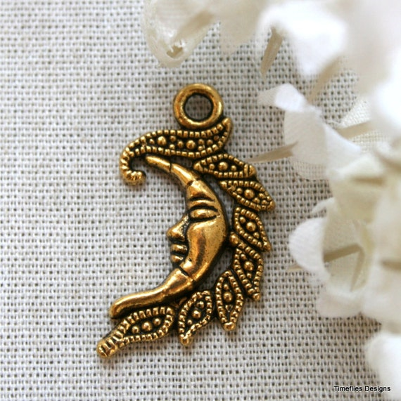 5 Antique Gold Tibetan Moon Charms