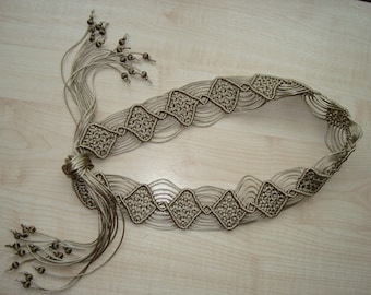 "Macrame Belt ""Caprice"", khaki women's belt, knotted of satin cord - MADE TO ORDER"