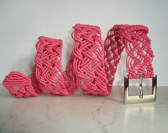 "Macrame Belt ""Temptation of Lace"", woven of hot  pink strong cotton waxed cord - MADE TO ORDER"
