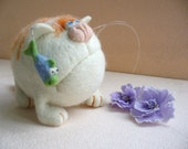 Needle Felted Toy - Orange cat  -Soft Sculpture, OOAK