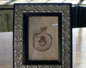 Framed Pomegranate Grenade Monoprint Lithograph on Handmade Paper, Free Shipping