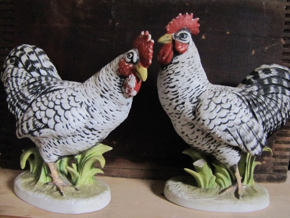 Lefton Roosters, marked Plymouth Rock KW1051A & KW1051B