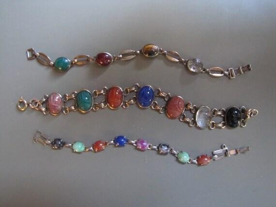 Three Vintage Scarab Bracelets